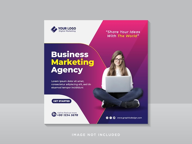 Plantilla de publicación de instagram y redes sociales corporativas de marketing digital creativo