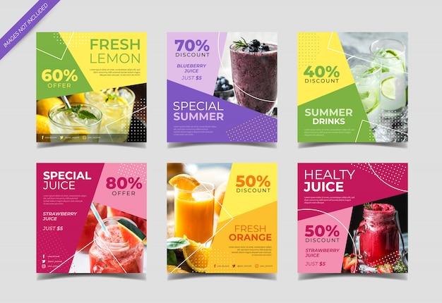 Plantilla de publicación de instagram de redes sociales de fresh juice