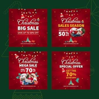 Plantilla de publicación de instagram de ventas de feliz navidad