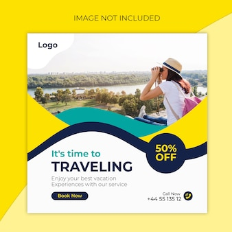 Plantilla de publicación de instagram para viajes o banner cuadrado por agencias de viajes