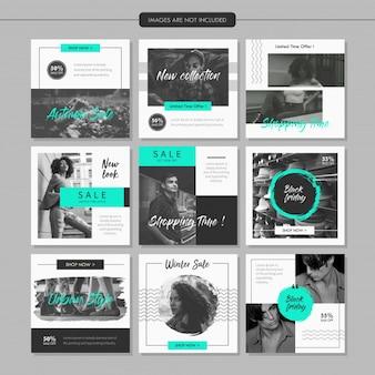 Plantilla de publicación en línea de medias de moda en escala de grises