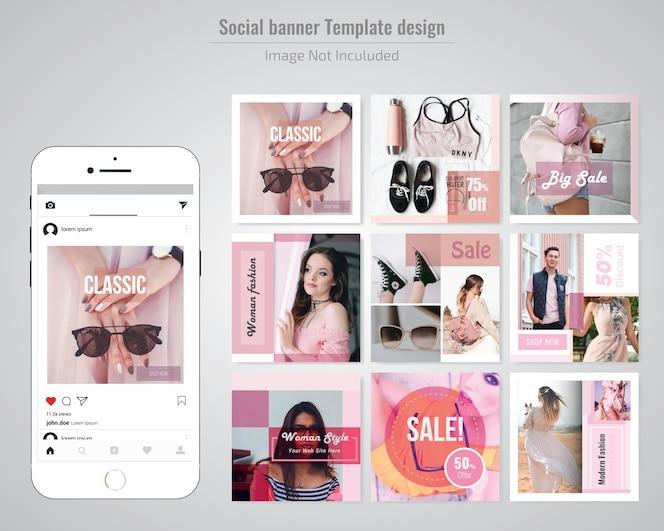 Plantilla de publicación de medios sociales de descuento de moda