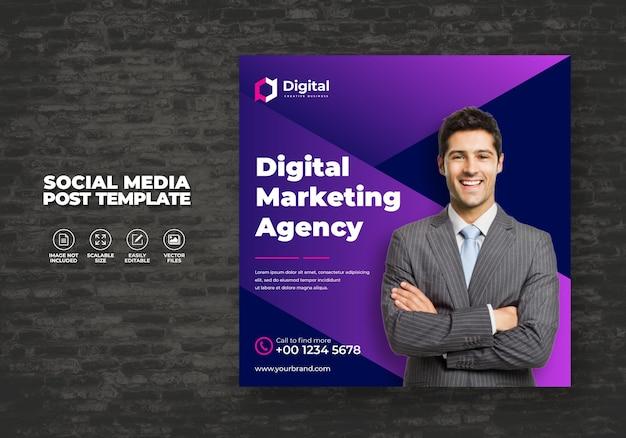 Plantilla de publicación de medios sociales de marketing de negocios digitales haga crecer su negocio