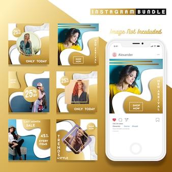 Plantilla de publicación de moda de instagram de oro