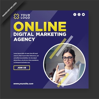 Plantilla de publicación de redes sociales de agencia de marketing digital en línea
