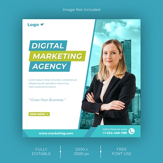 Plantilla de publicación en redes sociales para agencia de marketing digital