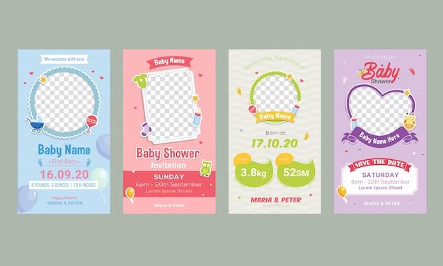 Plantilla de publicación de redes sociales de anuncio de cumpleaños de bebé