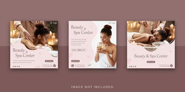 Plantilla para publicación en redes sociales del centro de belleza y spa