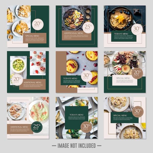Plantilla de publicación de redes sociales de comida de restaurante