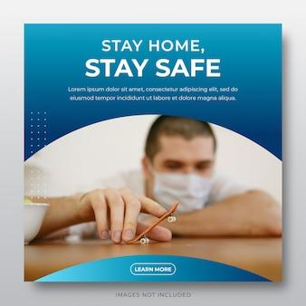Plantilla de publicación de redes sociales corona virus - quédate en casa, quédate, ahorra