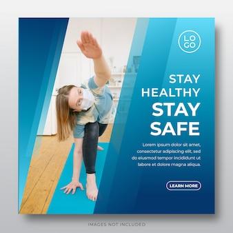 Plantilla de publicación de redes sociales corona virus: quédese en casa, quédese, ahorre, manténgase saludable