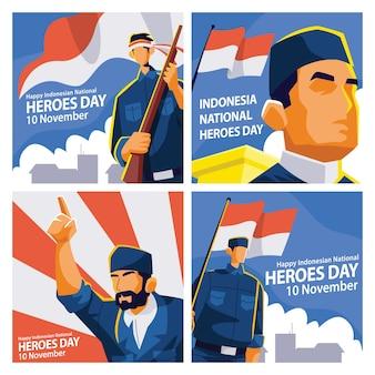 Plantilla de publicación en redes sociales del día de los héroes de indonesia con ilustración de personajes de héroes