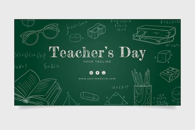 Plantilla de publicación de redes sociales del día del maestro dibujada a mano