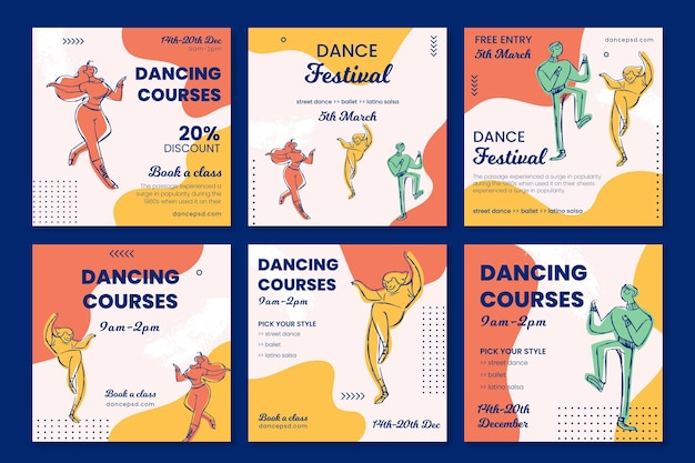 Plantilla de publicación de redes sociales de la escuela de cursos de baile