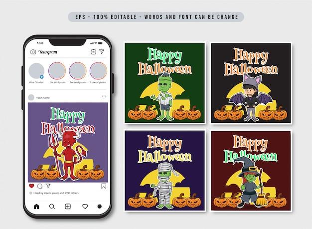 Plantilla de publicación de redes sociales happy halloween