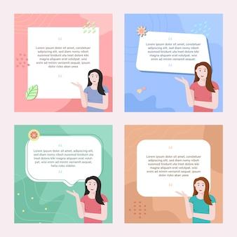 Plantilla de publicación de redes sociales con ilustración de mujer
