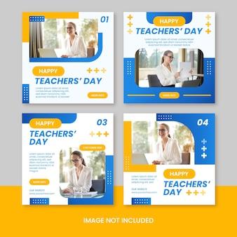 Plantilla de publicación de redes sociales de instagram feliz día del maestro