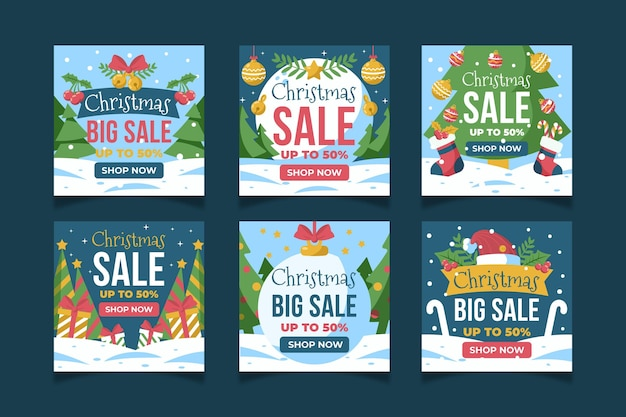 Plantilla de publicación de redes sociales de instagram de venta de navidad