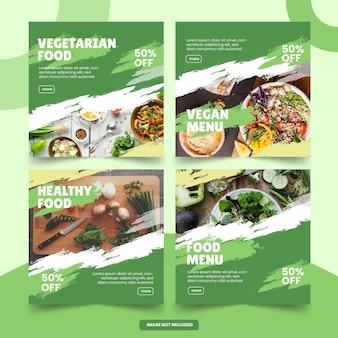 Plantilla de publicación de redes sociales de menú de alimentos saludables y vegetales
