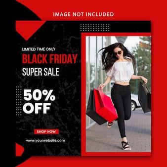 Plantilla de publicación de redes sociales moderna editable y banner de sitio web para venta de viernes negro