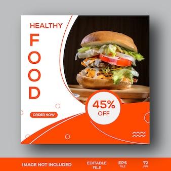 Plantilla de publicación de redes sociales de oferta de venta de alimentos