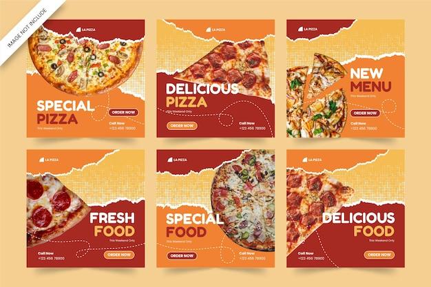 Plantilla de publicación de redes sociales de pizza de comida deliciosa