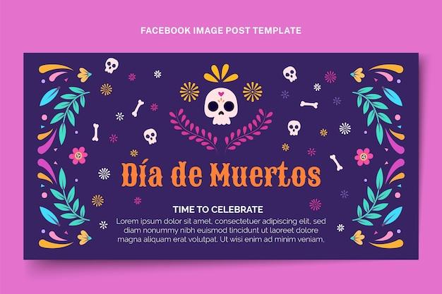 Plantilla de publicación de redes sociales plana de dia de muertos dibujada a mano