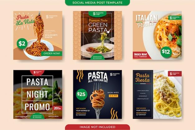 Plantilla de publicación de redes sociales de promoción de pasta