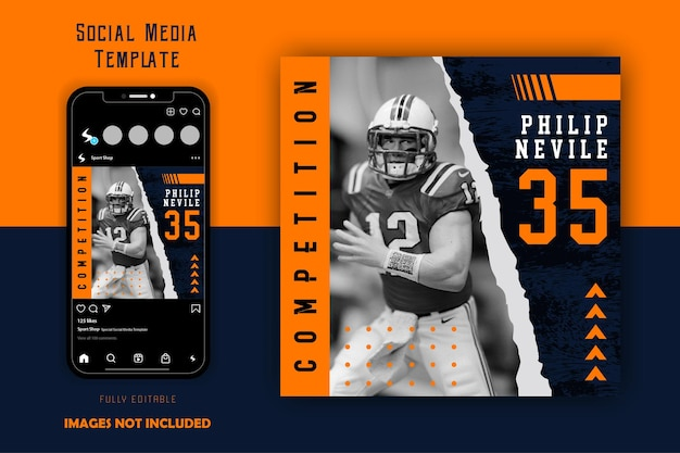 Plantilla de publicación de redes sociales de rugby de fútbol deportivo de color naranja negro
