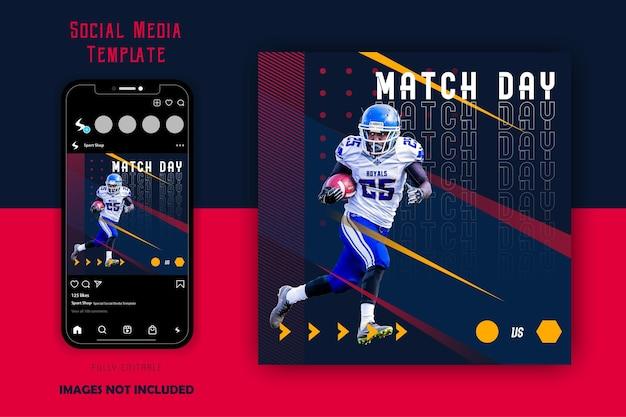 Plantilla de publicación de redes sociales de rugby de fútbol deportivo deportivo negro rojo amarillo