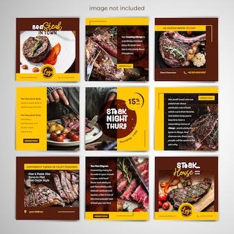 Plantilla de publicación de redes sociales steak
