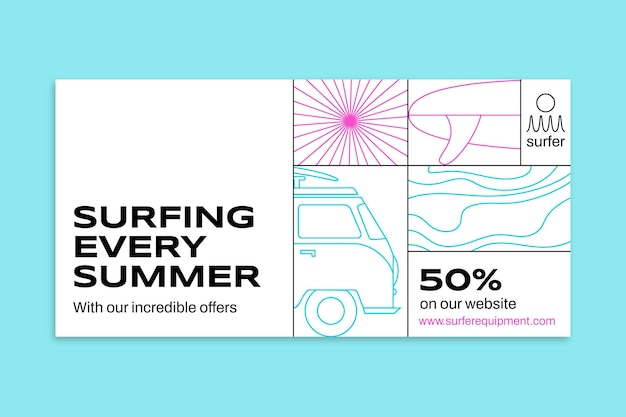 Plantilla de publicación de redes sociales de surf fresco minimalista moderno