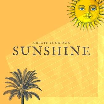 Plantilla de publicación en redes sociales con técnica mixta de sol y palmera, remezclada de obras de arte de dominio público