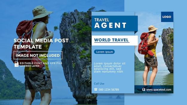 Plantilla de publicación de redes sociales de tema de agencia de viajes
