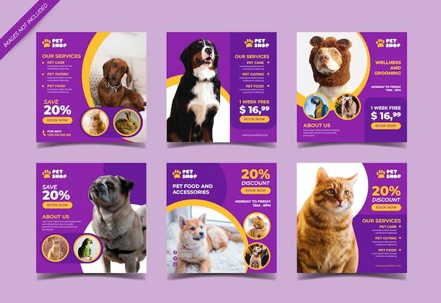 Plantilla de publicación de redes sociales de tienda de mascotas