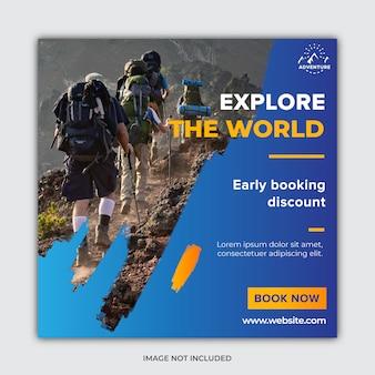 Plantilla de publicación de redes sociales de viajes y viajes