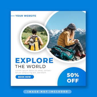 Plantilla de publicación de redes sociales de viajes