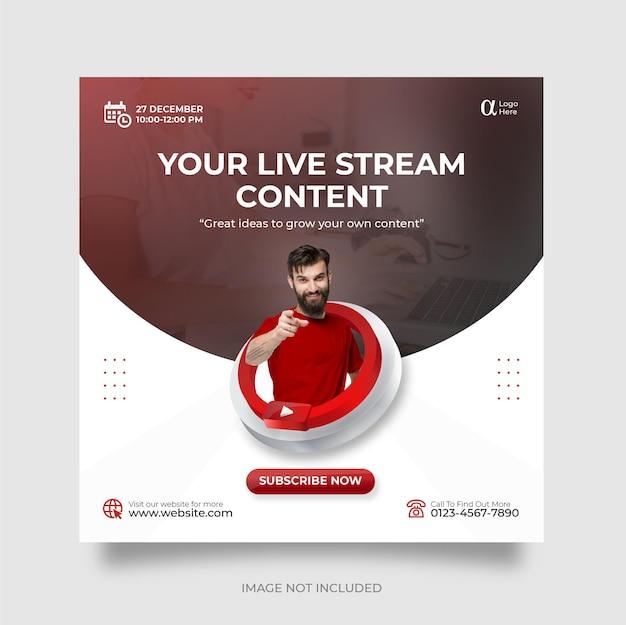 Plantilla de publicación de redes sociales de youtube de transmisión en vivo