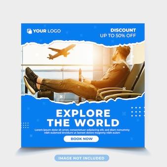 Plantilla de publicación de turismo de vacaciones de viaje
