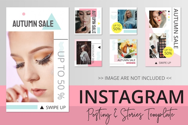 Plantilla de publicaciones e historias de instagram de belleza