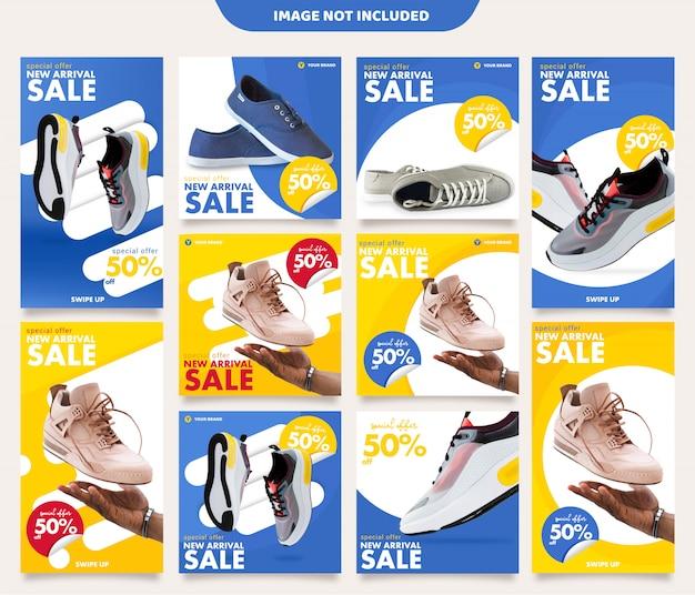 Plantilla de publicaciones e historias de instagram de zapatillas de deporte