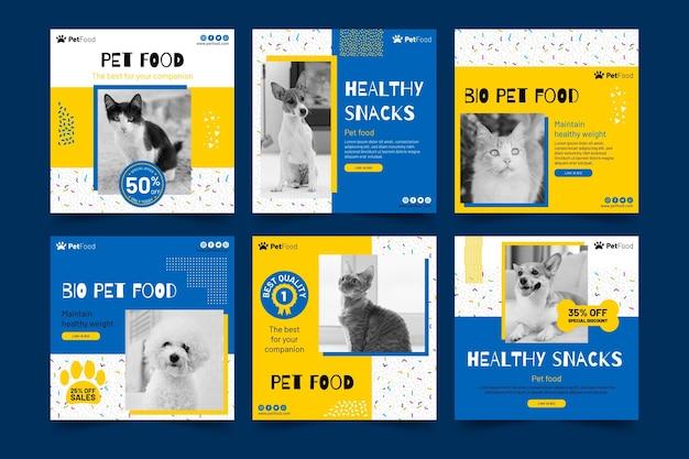 Plantilla de publicaciones de instagram de alimentos para animales