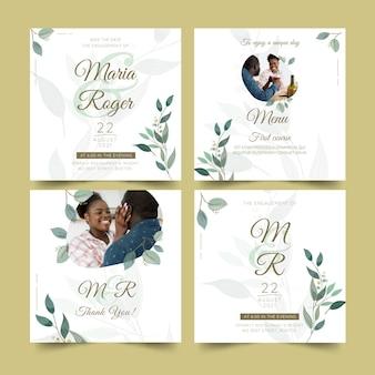 Plantilla de publicaciones de instagram de aniversario de boda