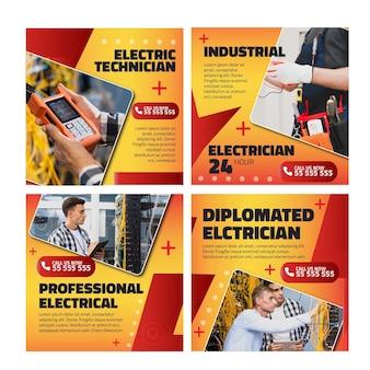 Plantilla de publicaciones de instagram de anuncio de electricista