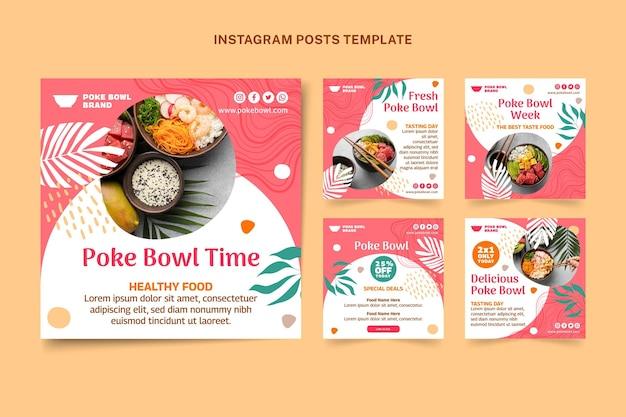 Plantilla de publicaciones de instagram de comida de diseño plano