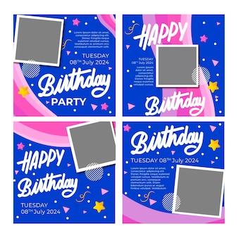 Plantilla de publicaciones de instagram de cumpleaños