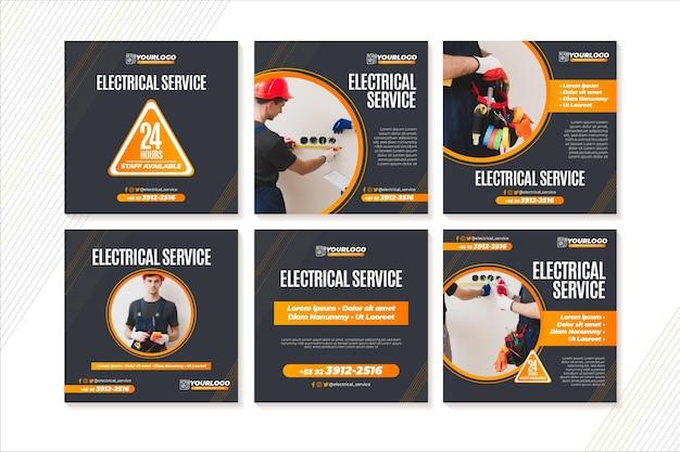 Plantilla de publicaciones de instagram de electricista