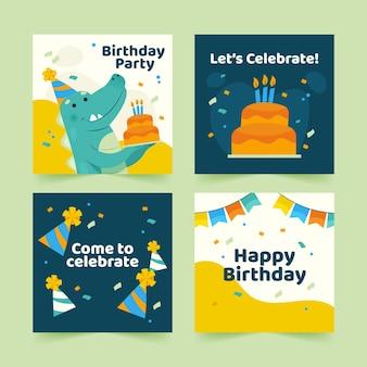 Plantilla de publicaciones de instagram de feliz cumpleaños con dinosaurio