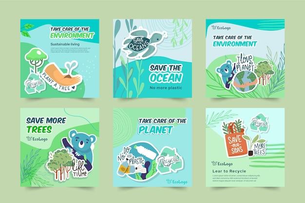 Plantilla de publicaciones de instagram de medio ambiente