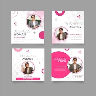 Plantilla de publicaciones de instagram de mujer de negocios
